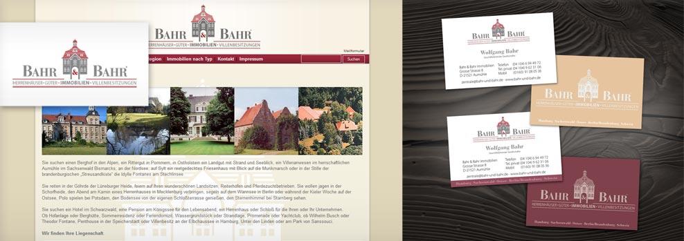 Grafiker Hamburg • Bahr & Bahr Immobilien • Webseite • Visitenkarten