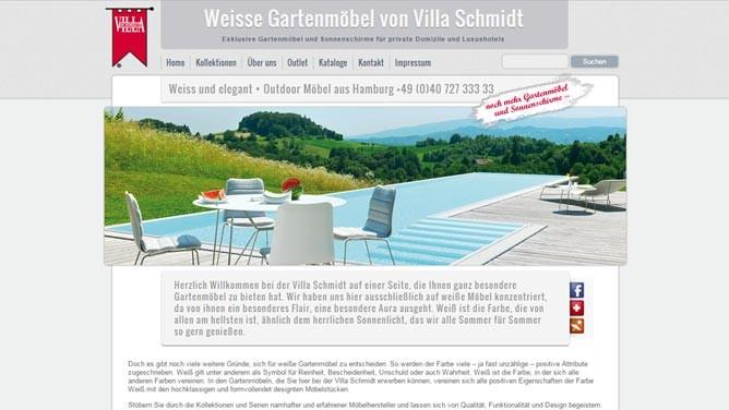 Webdesign · Hamburg | Kunde · Villa Schmidt GmbH | Weiße Gartenmöbel Website